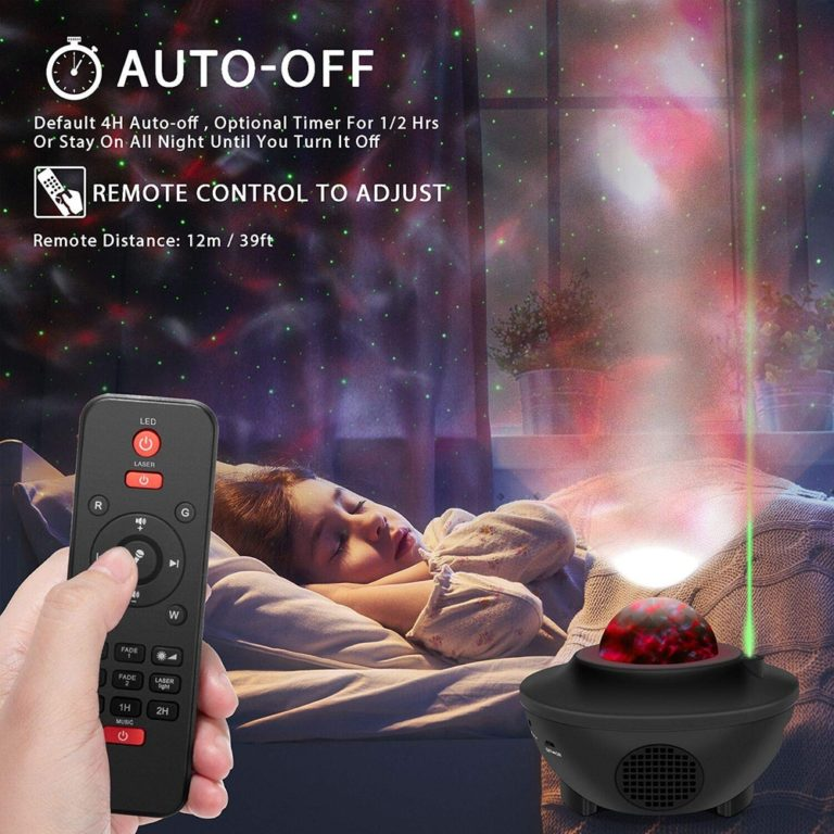 The remote controller ocean wave night light projector with sound-activated flicker mode. Freely turn on/off the lamp, change lighting mode, cycle through light effects, adjust brightness, start/stop the motion or adjust the volume. Sound motion sensor allows the projection changing the color according to the music beat or clapping your hands, creating a disco or party effect. 3 Auto-off timer options, built-in 1H/ 2H/ 4H turn off.